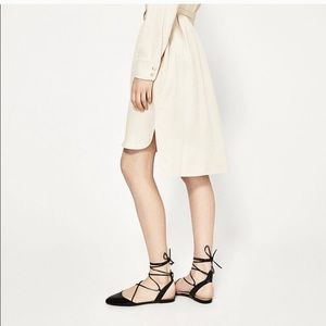 Zara Shoes - Zara Lace Up Black Flats
